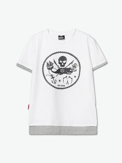 miracle kill空心圆圈海盗拼接款短袖t恤