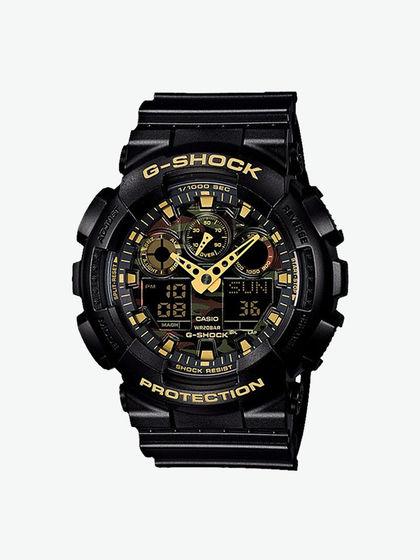G-SHOCK|卡西欧手表|男款|手表|G-SHOCK 迷彩黑金潮酷双显运动防水手表 GA-100CF-1A9PR