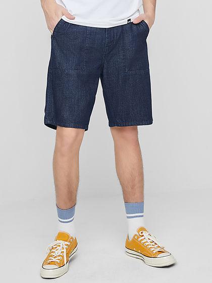 Lee|男款|短裤|Lee 男深蓝色宽松牛仔短裤