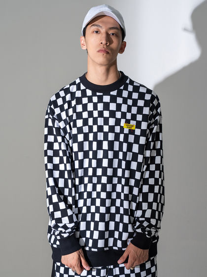 PUMA|PUMA|男款|卫衣|PUMA X CHINATOWN MARKET AOP Crew 撞色格纹套头卫衣