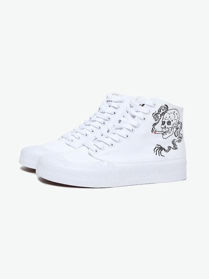 DCSHOECOUSA|男款|運動鞋|DC 骷髏刺繡高幫帆布鞋
