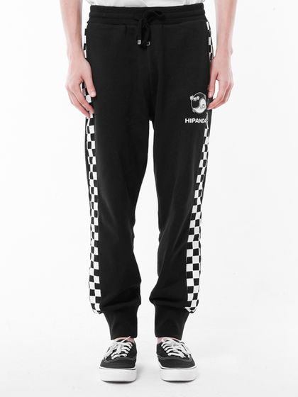 HIPANDA|男款|休閑褲|HIPANDA 男滑板側縫拼接針織長褲