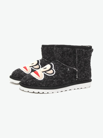 paulfrankshoes|paulfrankshoes|男款|靴子|paulfrankshoes 黑色趣味大嘴猴绣印雪地靴