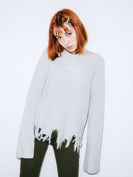 X-girl|X-girl|女|毛衣/针织|X-girl COTTON CROPPED KNIT TOP