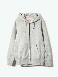 CHAMPION|男|CHAMPION CEM604 SMALL SCRIPT HOODED FULL ZIPSWEATSHIRT  Lt.GRAY